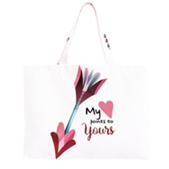 My Heart Points To Yours / Pink And Blue Cupid s Arrows (white) Zipper Large Tote Bag by FashionFling