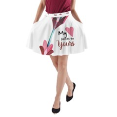 My Heart Points To Yours / Pink And Blue Cupid s Arrows (white) A-Line Pocket Skirt by FashionFling