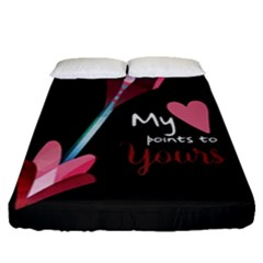 My Heart Points To Yours / Pink And Blue Cupid s Arrows (black) Fitted Sheet (queen Size) by FashionFling