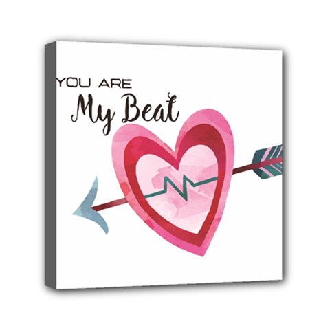 You Are My Beat / Pink And Teal Hearts Pattern (white)  Mini Canvas 6  X 6  by FashionFling