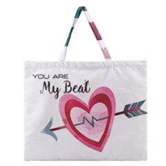 You Are My Beat / Pink And Teal Hearts Pattern (white)  Zipper Large Tote Bag by FashionFling