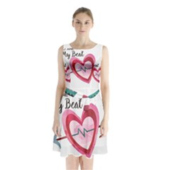 You Are My Beat / Pink And Teal Hearts Pattern (white)  Sleeveless Chiffon Waist Tie Dress