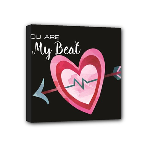 You Are My Beat / Pink And Teal Hearts Pattern (black)  Mini Canvas 4  X 4  by FashionFling