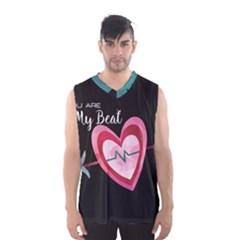 You Are My Beat / Pink And Teal Hearts Pattern (black)  Men s Basketball Tank Top