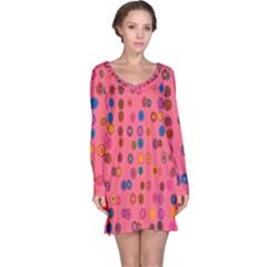 Circles Abstract Circle Colors Long Sleeve Nightdress
