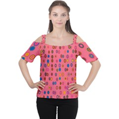 Circles Abstract Circle Colors Women s Cutout Shoulder Tee