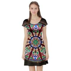 Church Window Window Rosette Short Sleeve Skater Dress