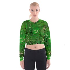 Circuit Board Women s Cropped Sweatshirt by Nexatart