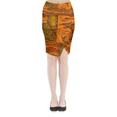 Circuit Midi Wrap Pencil Skirt by Nexatart