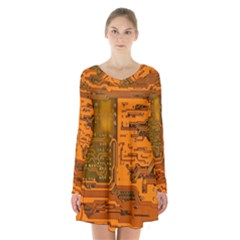 Circuit Long Sleeve Velvet V Neck Dress by Nexatart