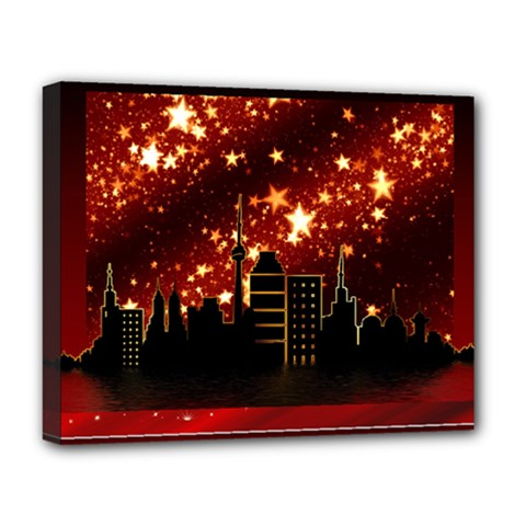 City Silhouette Christmas Star Deluxe Canvas 20  X 16