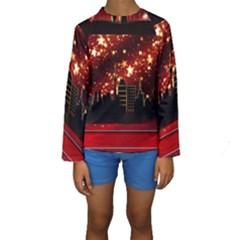 City Silhouette Christmas Star Kids  Long Sleeve Swimwear