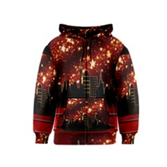 City Silhouette Christmas Star Kids  Zipper Hoodie