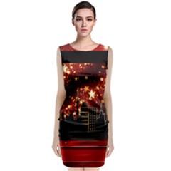 City Silhouette Christmas Star Classic Sleeveless Midi Dress
