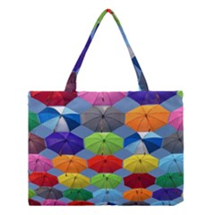 Color Umbrella Blue Sky Red Pink Grey And Green Folding Umbrella Painting Medium Tote Bag by Nexatart