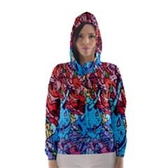 Colorful Graffiti Art Hooded Wind Breaker (women)