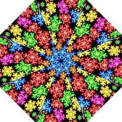 Colourful Snowflake Wallpaper Pattern Hook Handle Umbrellas (medium)