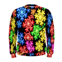 Colourful Snowflake Wallpaper Pattern Men s Sweatshirt