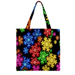 Colourful Snowflake Wallpaper Pattern Zipper Grocery Tote Bag