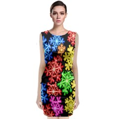 Colourful Snowflake Wallpaper Pattern Classic Sleeveless Midi Dress