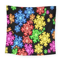Colourful Snowflake Wallpaper Pattern Square Tapestry (large) by Nexatart