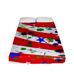 Confetti Star Parade Usa Lines Fitted Sheet (full/ Double Size)