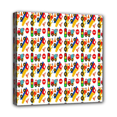 Construction Pattern Background Mini Canvas 8  X 8