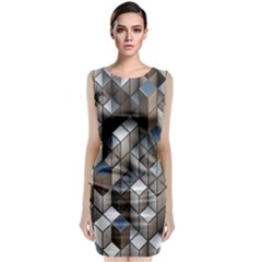 Cube Design Background Modern Classic Sleeveless Midi Dress