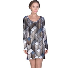 Cube Design Background Modern Long Sleeve Nightdress