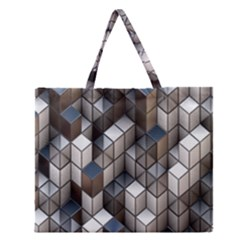 Cube Design Background Modern Zipper Large Tote Bag by Nexatart