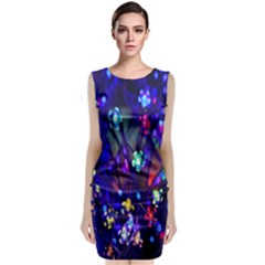 Decorative Flower Shaped Led Lights Classic Sleeveless Midi Dress