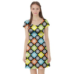 Diamonds Argyle Pattern Short Sleeve Skater Dress