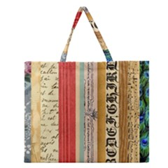 Digitally Created Collage Pattern Made Up Of Patterned Stripes Zipper Large Tote Bag by Nexatart
