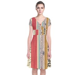 Digitally Created Collage Pattern Made Up Of Patterned Stripes Short Sleeve Front Wrap Dress