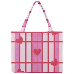 Fabric Magenta Texture Textile Love Hearth Mini Tote Bag