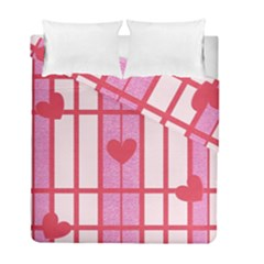 Fabric Magenta Texture Textile Love Hearth Duvet Cover Double Side (full/ Double Size) by Nexatart