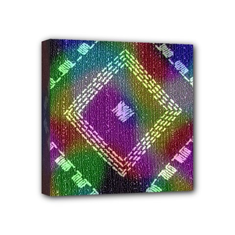 Embroidered Fabric Pattern Mini Canvas 4  X 4
