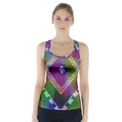 Embroidered Fabric Pattern Racer Back Sports Top