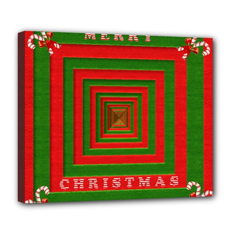 Fabric 3d Merry Christmas Deluxe Canvas 24  X 20   by Nexatart