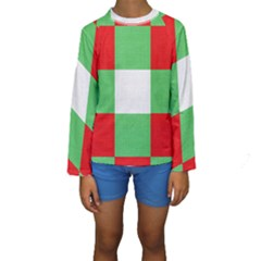 Fabric Christmas Colors Bright Kids  Long Sleeve Swimwear