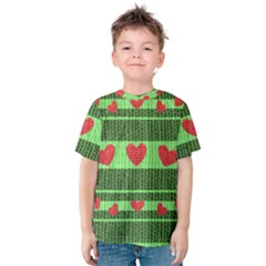 Fabric Christmas Hearts Texture Kids  Cotton Tee