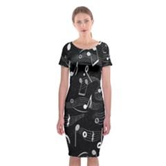 Fabric Cloth Textile Clothing Classic Short Sleeve Midi Dress by Nexatart