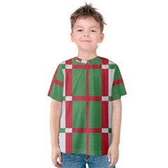 Fabric Green Grey Red Pattern Kids  Cotton Tee
