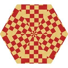 Fabric Geometric Red Gold Block Mini Folding Umbrellas by Nexatart