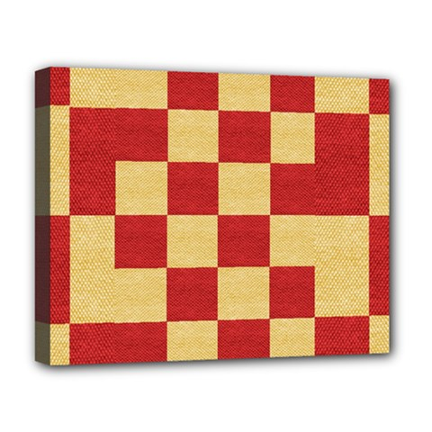 Fabric Geometric Red Gold Block Deluxe Canvas 20  X 16