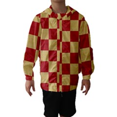 Fabric Geometric Red Gold Block Hooded Wind Breaker (Kids) by Nexatart