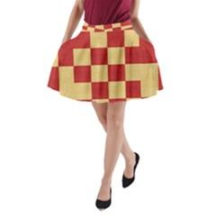 Fabric Geometric Red Gold Block A Line Pocket Skirt by Nexatart