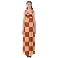 Fabric Geometric Red Gold Block Empire Waist Maxi Dress by Nexatart
