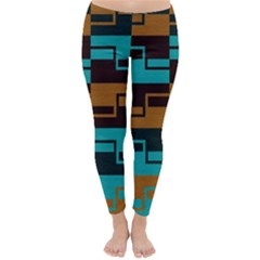 Fabric Textile Texture Gold Aqua Classic Winter Leggings