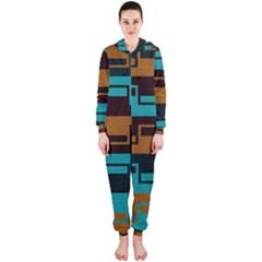 Fabric Textile Texture Gold Aqua Hooded Jumpsuit (Ladies)